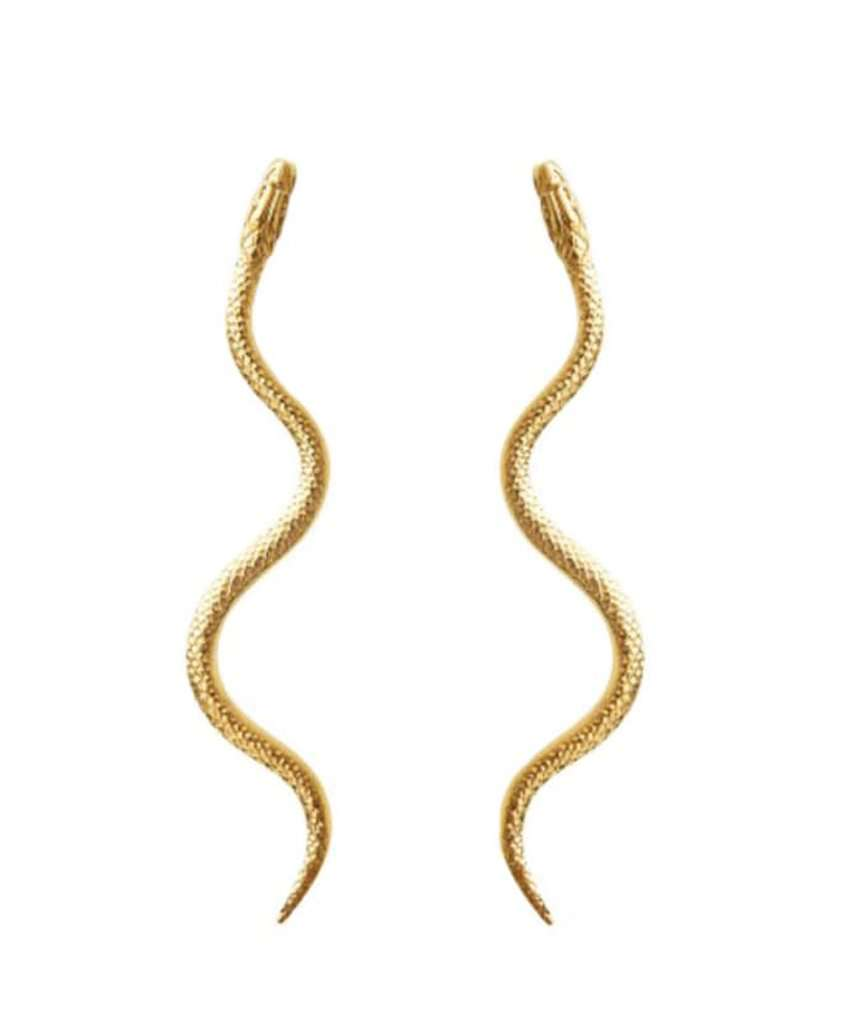 Double Snake Gold Earrings