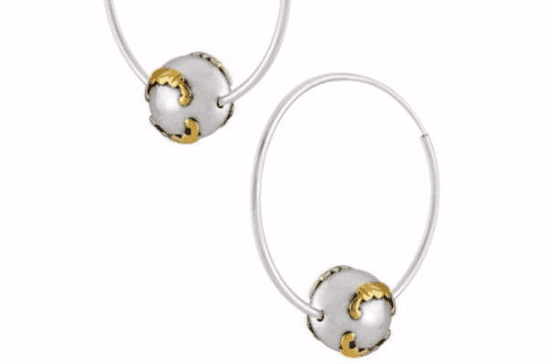 e4c0c7145 Premium Silver Dual Tone Leafy Bead Hoop Earrings. Rollover to zoom