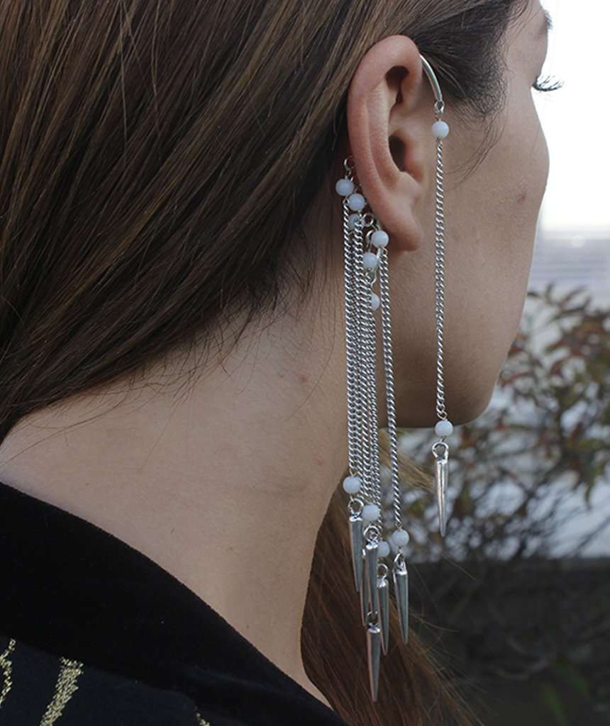 Boho Earcuff with Beads & Spikes
