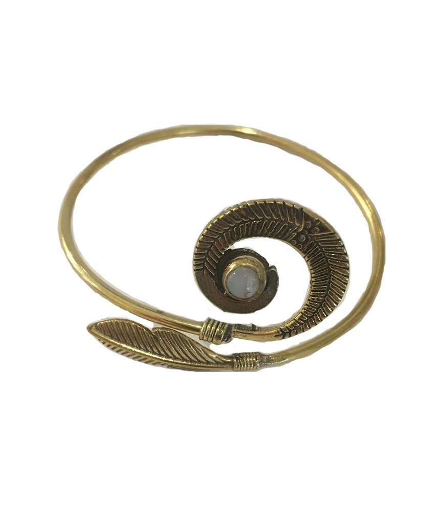 Spiralled Feather Bangle Bracelet