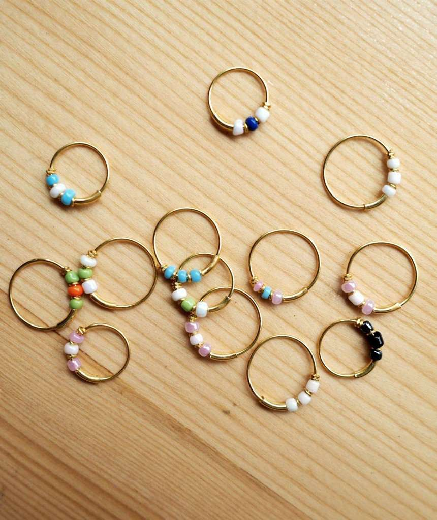 Gold Hoop Earrings with Beads