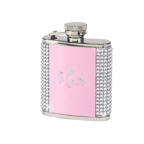WHITE CRYSTAL FLASK WITH PINK PANEL