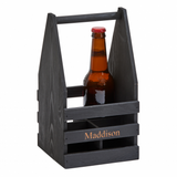 "Black Wood 4 Bottle Beverage Caddy, 11"" x 6"""