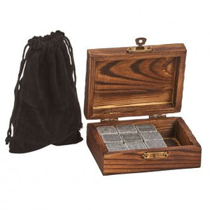 Wood Box w/9 Whiskey Stones & Pouch