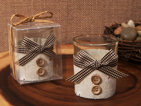 Rustic Burlap design candle holder Wedding Favor