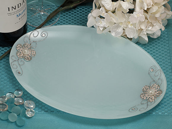 Cassiani Signature collection oval glass tray with silver floral accents