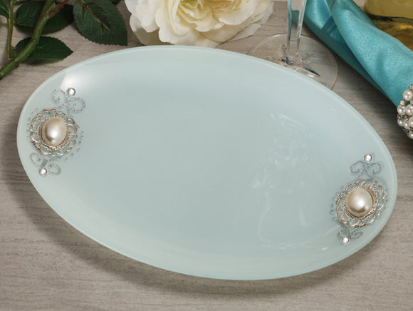 Cassiani signature collection oval glass tray with pearl accent