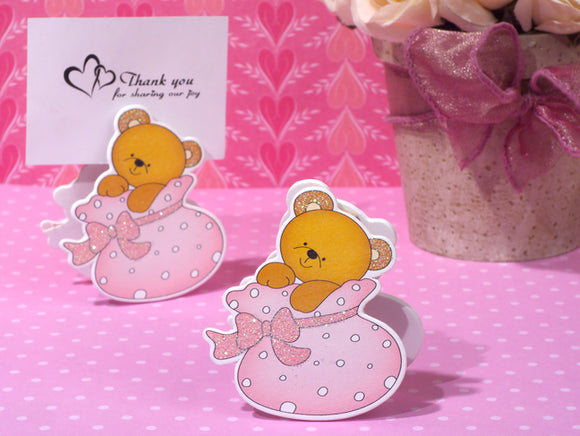 Playful Teddy Bear Photo Place Card Holder Baby Shower Party Favors