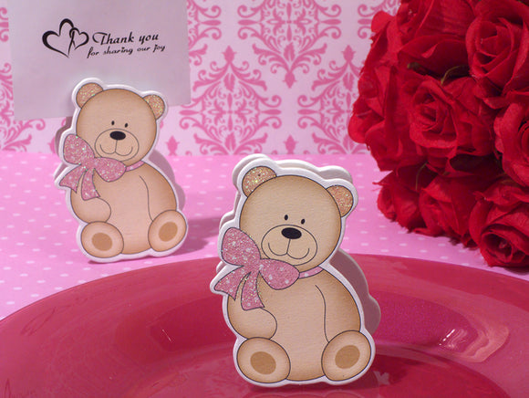 Cute And Cuddly Pink Teddy Place Card Holder baby favors