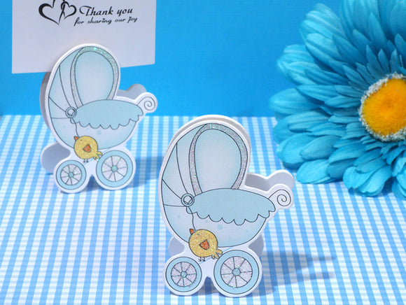 Adorable Blue Baby Stroller Place Card Holder baby favors