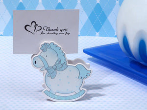 Precious Blue Rocking Horse Photo Place Card Holder Baby Shower Favors