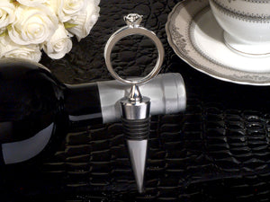 Bling a diamond ring silver wine stopper Wedding Bridal Shower Favors