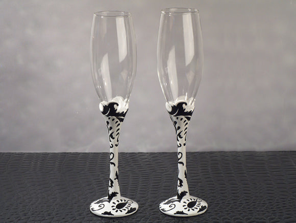 Stylish Damask Toasting Flutes Wedding Glasses Beach Bridal Shower Party Favors