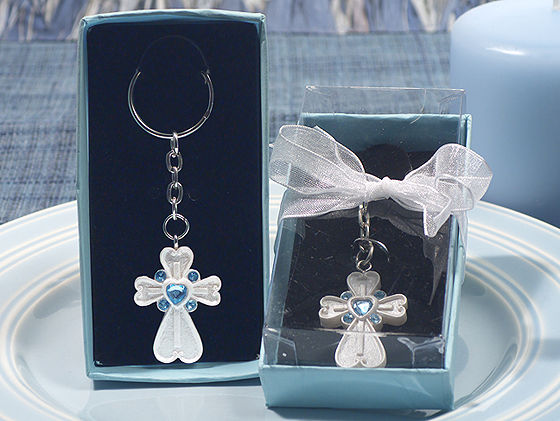 White Cross Key Chain Blue Crystals Communion Baptism Baby Shower