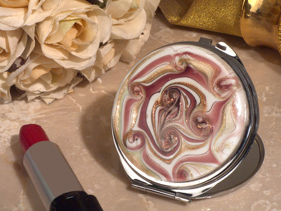 Stylish Murano mauve and gold swirl compact mirror wedding favor