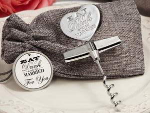Eat, Drink, Be Married Chrome Wine opener Wedding Party Bridal Favors