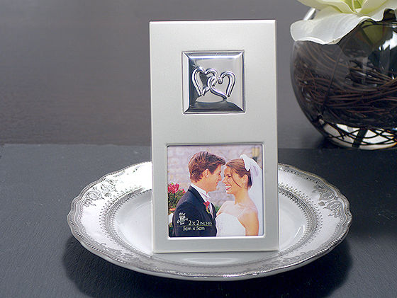 Two Hearts Silver Metal Photo Frame Wedding Favors