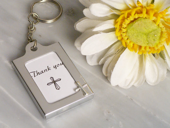 Cross Key chain Photo Frame Communion Baptism Baby Shower Party Favors