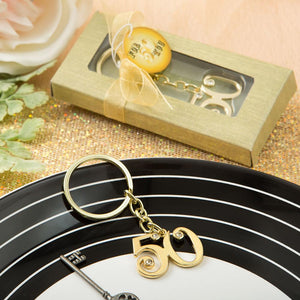50th design gold metal key chain from Fashioncraft®