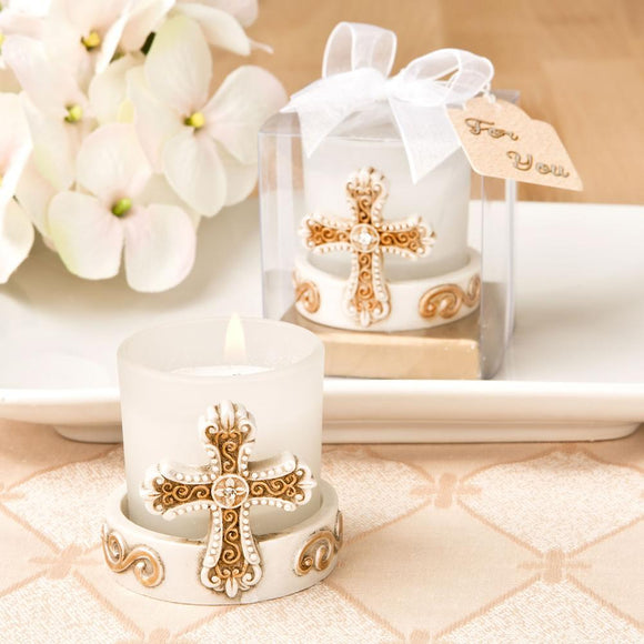 Vintage cross themed candle votive from Fashioncraft®