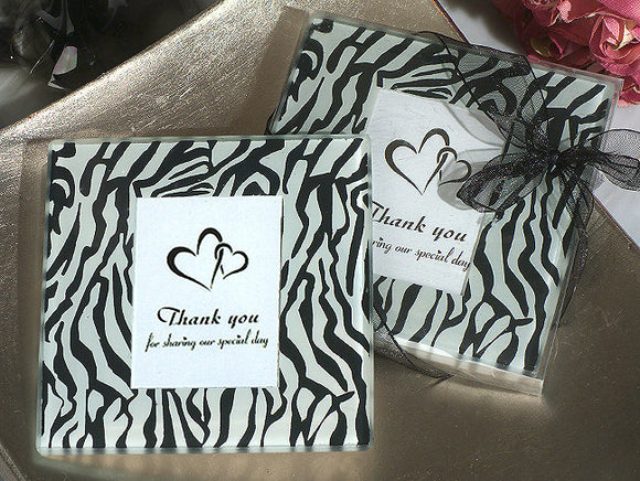 Zebra Glass Coasters Set Heart Bridal Shower Wedding Party Favors