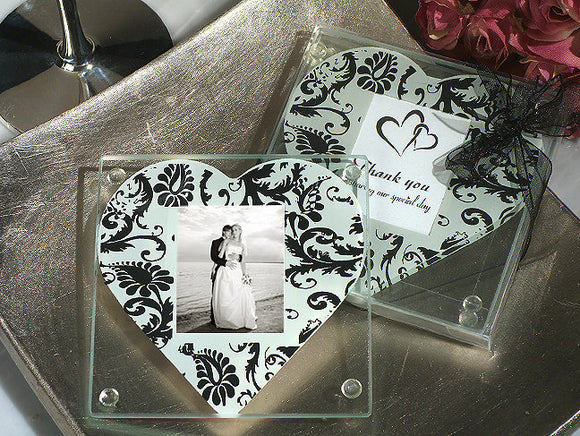LOVE Glass Coasters Set Heart Damask Bridal Shower Wedding Favors