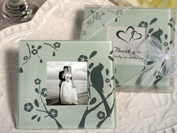 Lovebirds design photo coaster Bridal Wedding Shower Favors