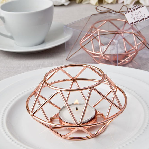 Geometric design rose gold metal tealight candle holder from Fashioncraft®