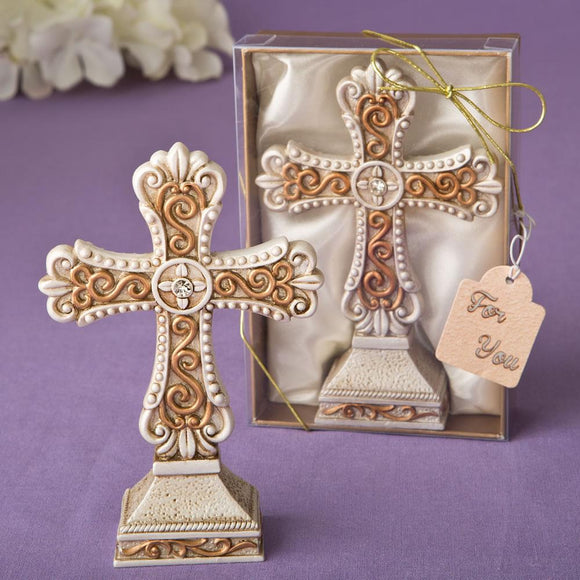 Antique ivory Cross statue with a matte gold filigree detailing from Fashioncraft®