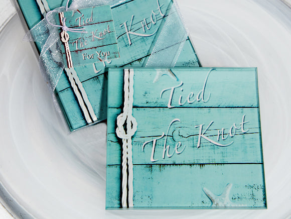 Unique Tied The Knot Glass Coaster Wedding Favors Bridal Shower Favors
