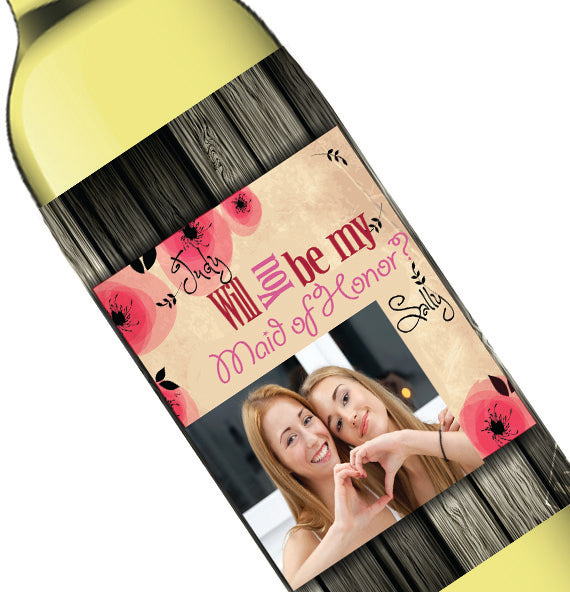 Personalized Photo Wood Grain Bridal Party Wine Bottle Label