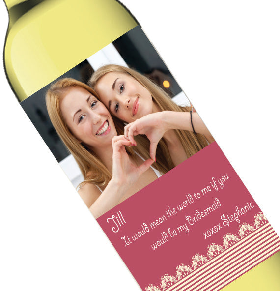 Personalized Photo Pink Bridal Party Invite Wine Bottle Label