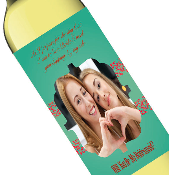 Personalized Photo Green Bridal Party Invite Wine Bottle Label