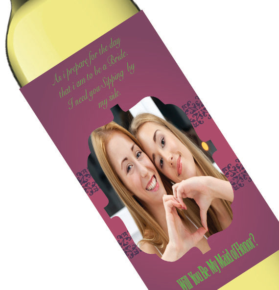 Personalized Photo Purple Bridal Party Invite Wine Bottle Label
