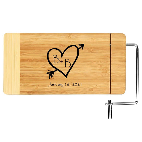 Monogrammed Laser Wood Cheese Board - Carved Heart Monogram Anniversary Gift
