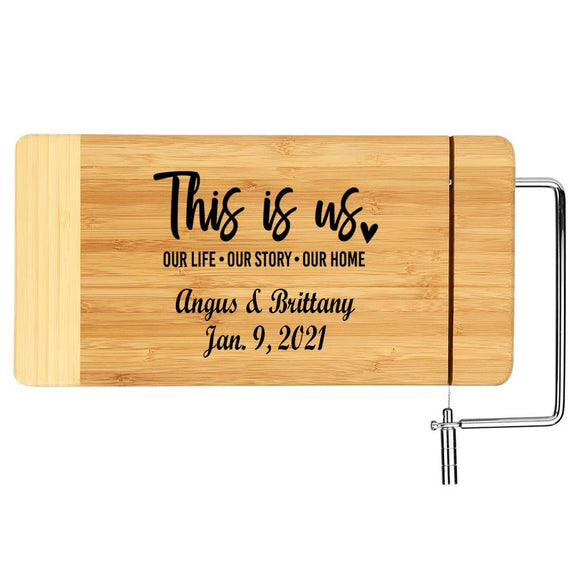 Monogrammed Laser Wood Cheese Board - This is us Anniversary Gift