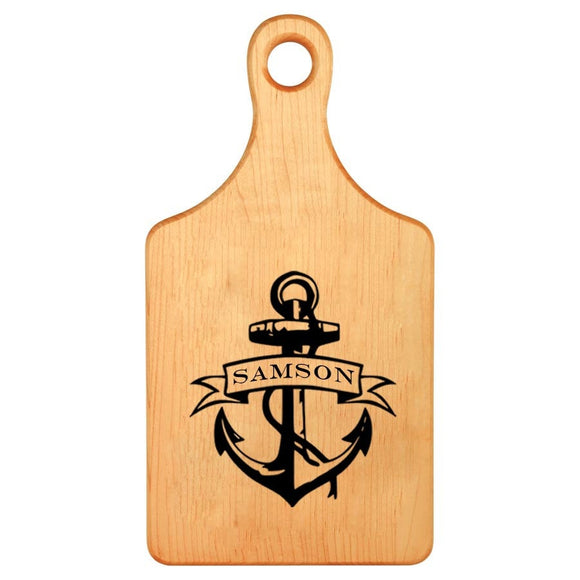 Monogrammed Anchor Laser Paddle Cutting Board - Anniversary Gift