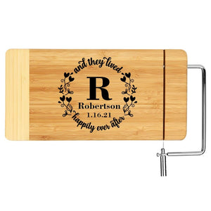 Monogrammed Laser Wood Cheese Board - Happily Ever After Monogram Anniversary Gift
