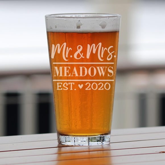 Personalized Mr & Mrs Heart Pint Glass Engraved Beer Mug