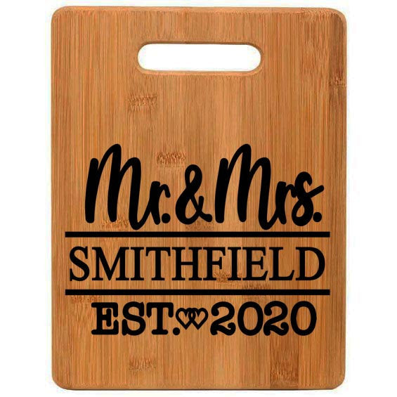 Monogrammed Mr & Mrs Heart Engraved Maple Cutting Board - Wedding Gift