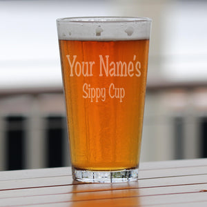 Personalized Sippy Cup Pint Glass Beer Mug