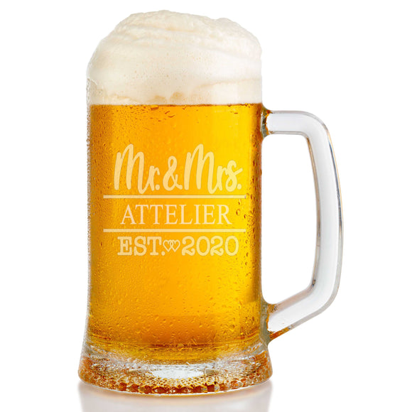 Personalized Mr & Mrs Double Heart Engraved Beer Mug