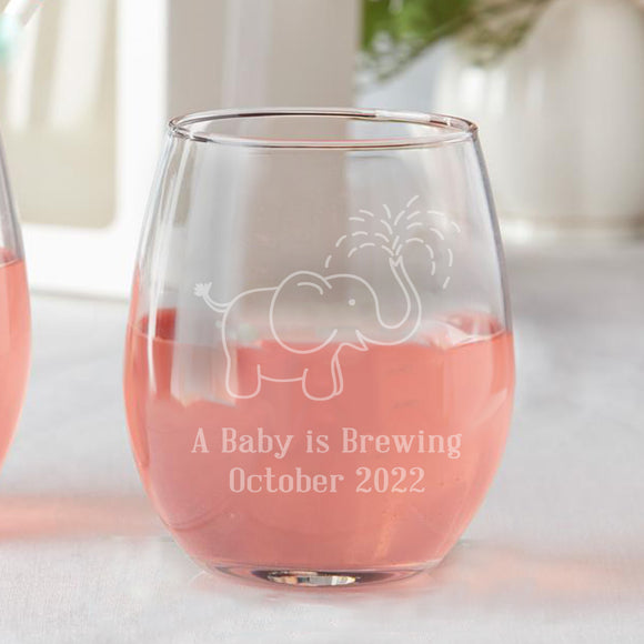 Set of 12 Baby Elephant Spraying Baby Shower Favors Stemless Wine Glasses