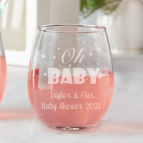 Set of 12 Oh Baby Shower Favors Stemless Wine Glasses