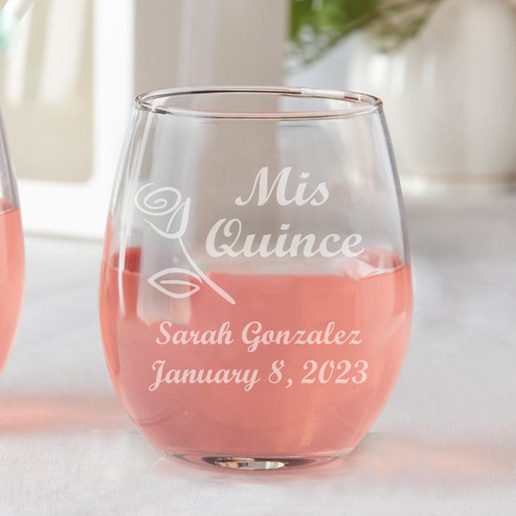 Set of 12 Personalized Quince Rose Años Sweet 15 Birthday Party Favors Stemless Wine Glasses