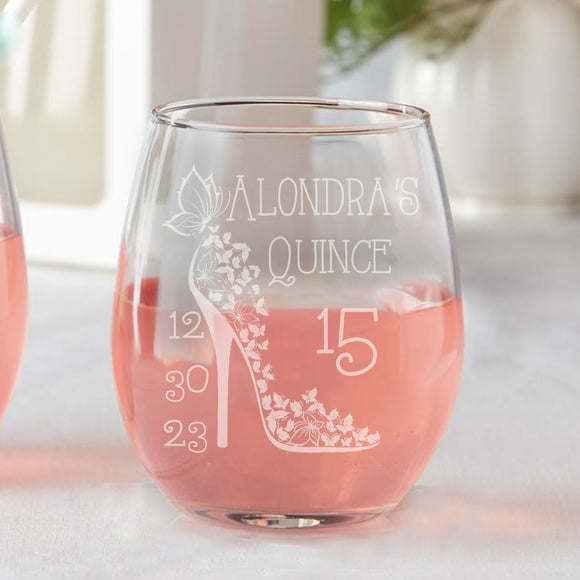 Set of 12 Custom Quince Cinderella Shoe Años Sweet 15 Birthday Spanish Party Favors Stemless Wine Glasses