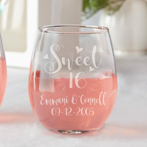 Set of 12 Personalized Custom Sweet 16 Hearts Sweet Sixteen Party Favors Stemless Wine Glasses