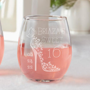 Set of 12 Personalized Custom Sweet 16 Cinderella Shoe Sweet Sixteen Party Favors Stemless Wine Glasses