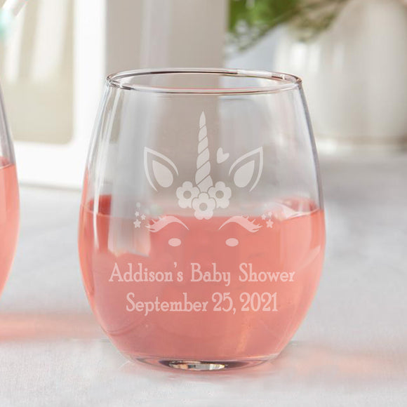 Set of 12 Baby Girl Unicorn Baby Shower Favors Stemless Wine Glasses