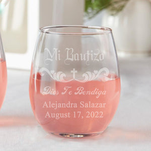 Set of 12 Custom Mi Bautizo Scroll Favors Stemless Wine Glasses